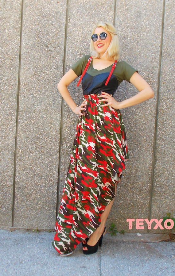 Plus Size Maxi Dress Camouflage Dress with Eco Leather Corset Camo Clothes  Women Military Urban Dress for Girls Dress with Straps TDK130