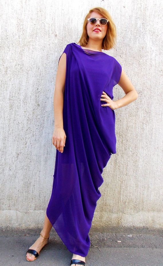 Dress Maxi Party Plus Maxi TEYXO Asymmetrical Dress Purple TDK67 Maxi Kaftan Size by Kaftan Z5Ugnwq