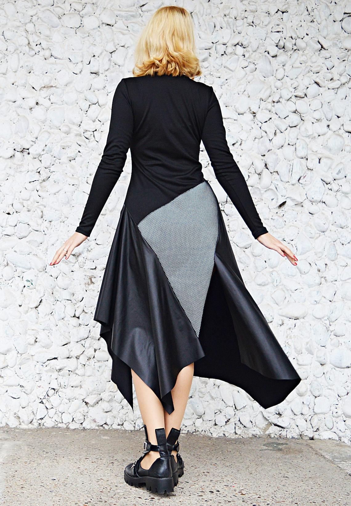 Jersey Swing Dress Color Block Dress Winter Neoprene Dress