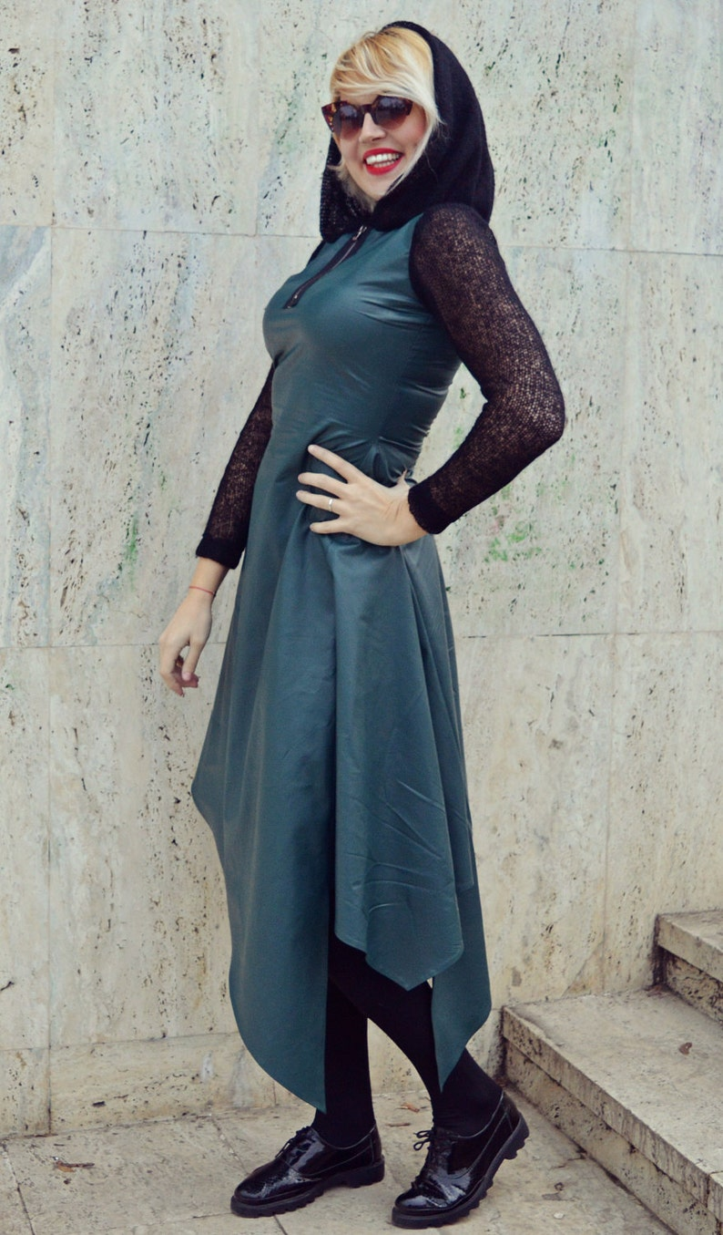 Forest Green Leather Dress  Extravagant Forest Green Dress  Asymmetrical Leather Dress  Wool Hooded Dress TDK223 JAZZ UP!