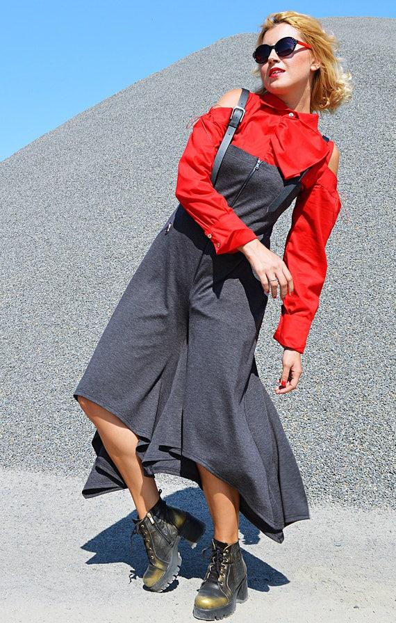 7ab60d7c4bf93 Extravagant Grey Jumpsuit Asymmetrical Jersey Jumpsuit Funky