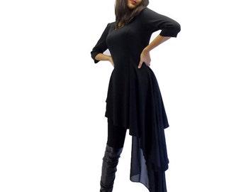 Black Asymmetrical Dress TT03,  Black Dress Tunic, Little Black Dress, Black Top