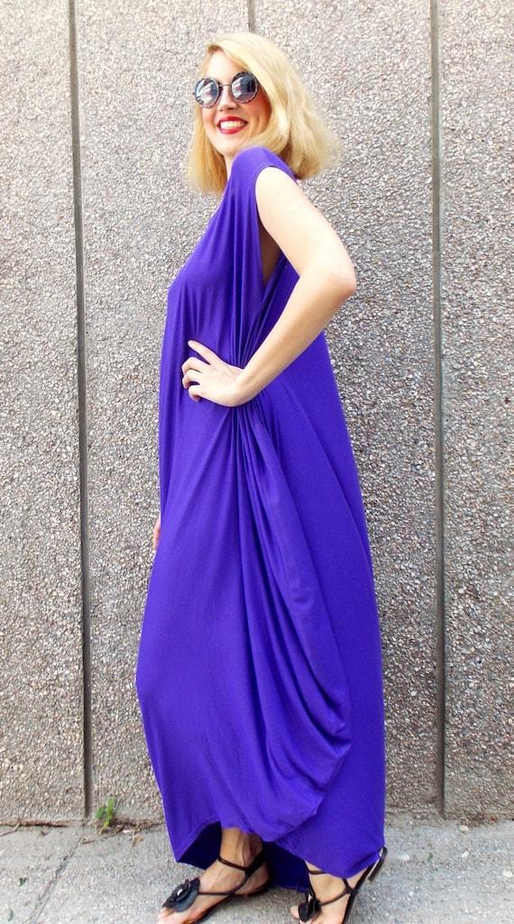 Purple Maxi Dress, Plus Size Purple Caftan, Summer Dress, Casual Maxi Dress  TDK40 by TEYXO