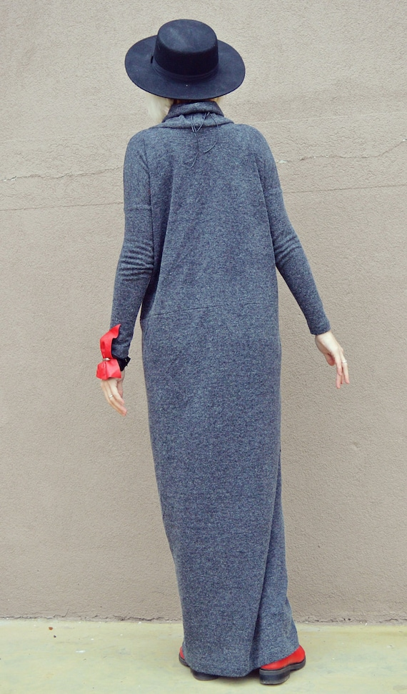 Extravagant Maxi Dress Gray Angora Dress Dress Angora Long Long Maxi Gray Loose TDK222 Dress wCpwUrq