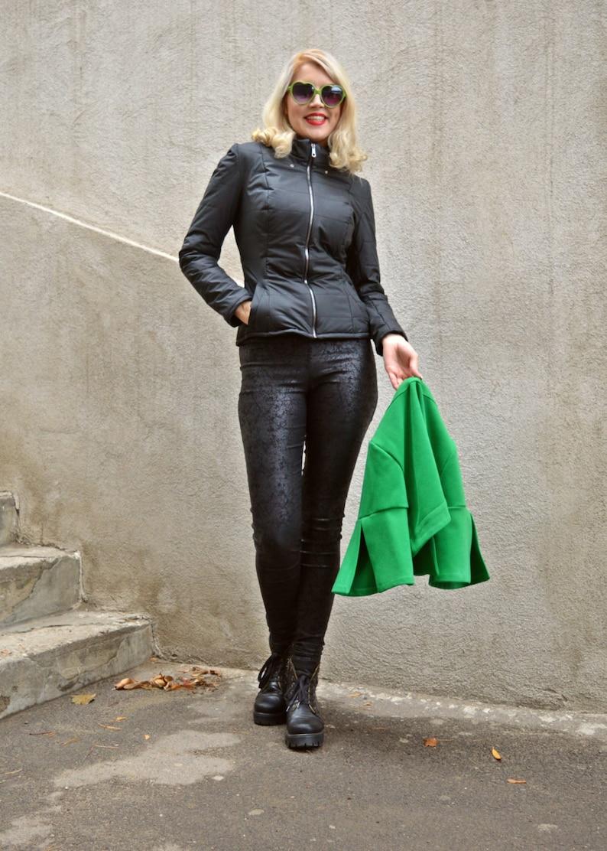 Black Jacket with Green Bolero  Padded Jacket with Detachable Green Bolero  Waxed Stretched Leather Jacket TC56