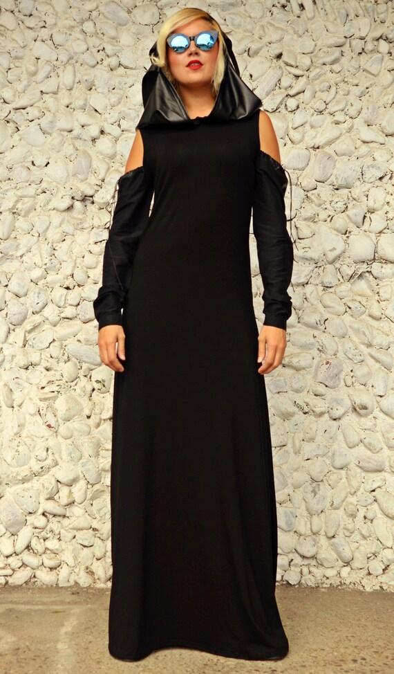 Black Maxi Dress Black Hooded Dress With Naked Shoulders Etsy