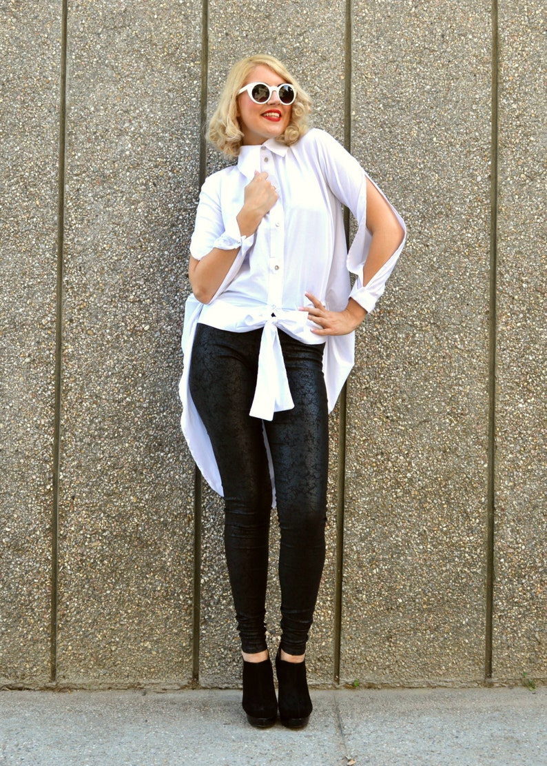 White Cotton Top with Cropped Sleeves Casual Work Women Shirt Beach Party Button Blouse Long Tail Office Top Loose Fit Collar Shirt TT62
