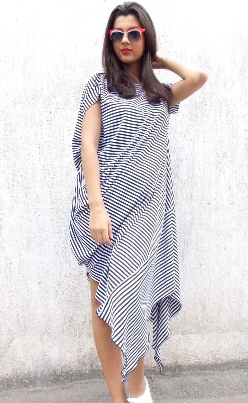 Asymmetrical Black and White Stripes Dress / Loose Maxi Dress/ | Etsy