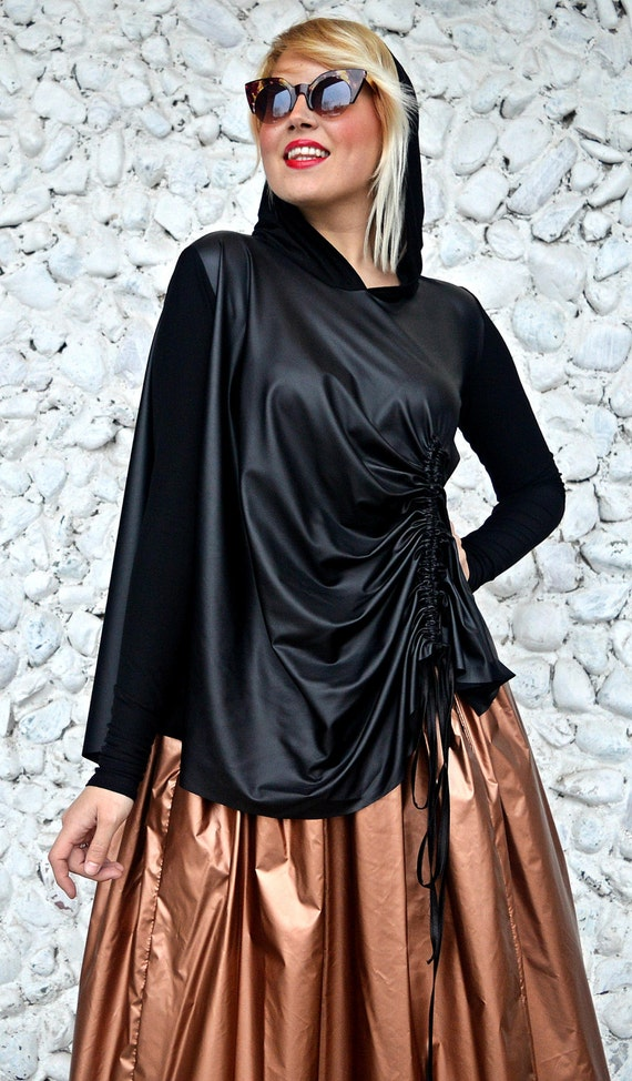 Hooded Asymmetrical Top Blouse Hooded TT111 Top URBAN Hooded Extravagant MUSE Black Funky Black Blouse wp8a1WzIq