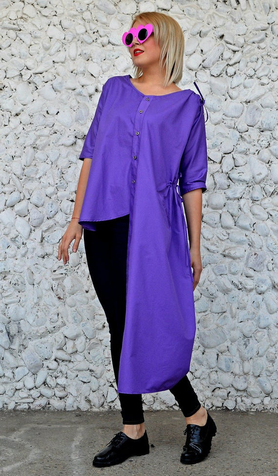 Cotton Asymmetrical TT116 Cotton Funky Extravagant Top Blouse Purple Purple Top Top RISE Asymmetrical wqXYxAP