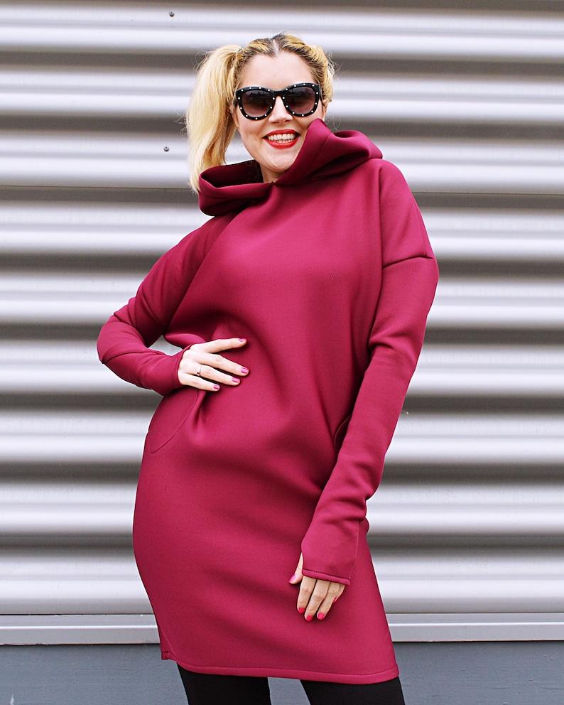 Neoprene Winter dress, Plum Maxi Dress, Plus Size Dress, Dress for Women  TDK333 by TEYXO