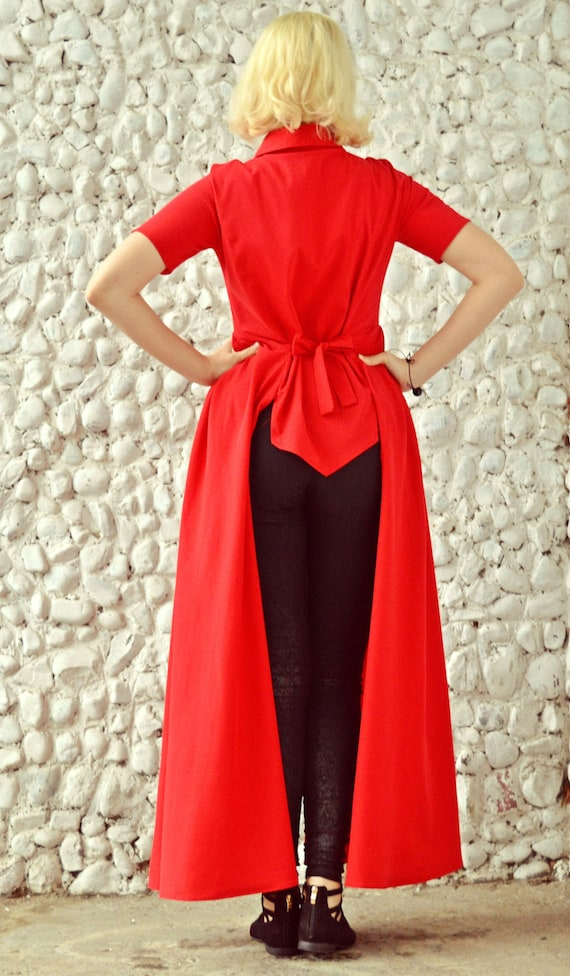 Long Summer by TEYXO Top Shirt Red Short Shirt TT82 Extravagant Red Flared Tailed Blouse Sleeved Rwqzz0