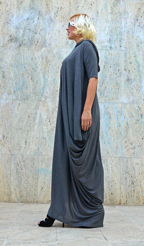 Long TDK200 Grey Hoodie Dress Hooded Dress Loose Hoodie Maxi Grey Extravagant Hooded Extravagant Z6qaYa