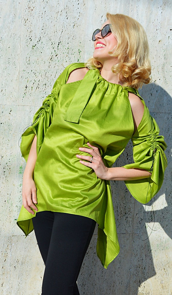 Top Top Off Lime Shoulders Tunic Teyxo Top by Asymmetrical Green TT133 Blouse Lime Green FwqR5Z8Fx