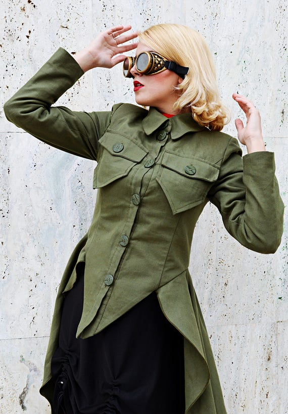 Jacket Cotton TC100 Green Handmade Jacket Military Teyxo Jacket Military by Flared Jacket Painted Military x1Fw0