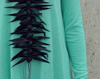 Extravagant Black Leather Necklace / Genuine Leather Necklace / Extravagant Leather Necklace TLJ41