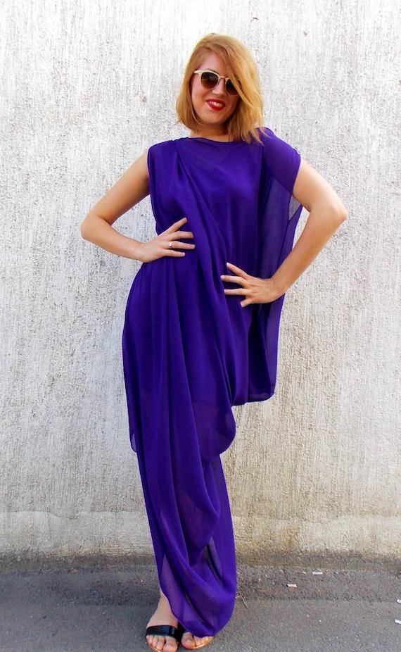 Purple Maxi Dress, Party Maxi Kaftan, Plus Size Maxi Dress TDK67 by TEYXO,  Asymmetrical Kaftan