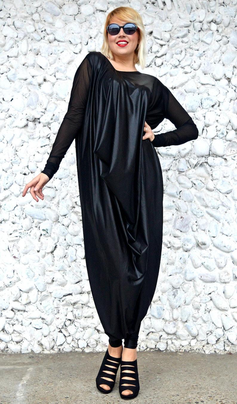 5665dafd29a94 Black Latex Jumpsuit   Black Plus Size Jumpsuit   Loose Funky
