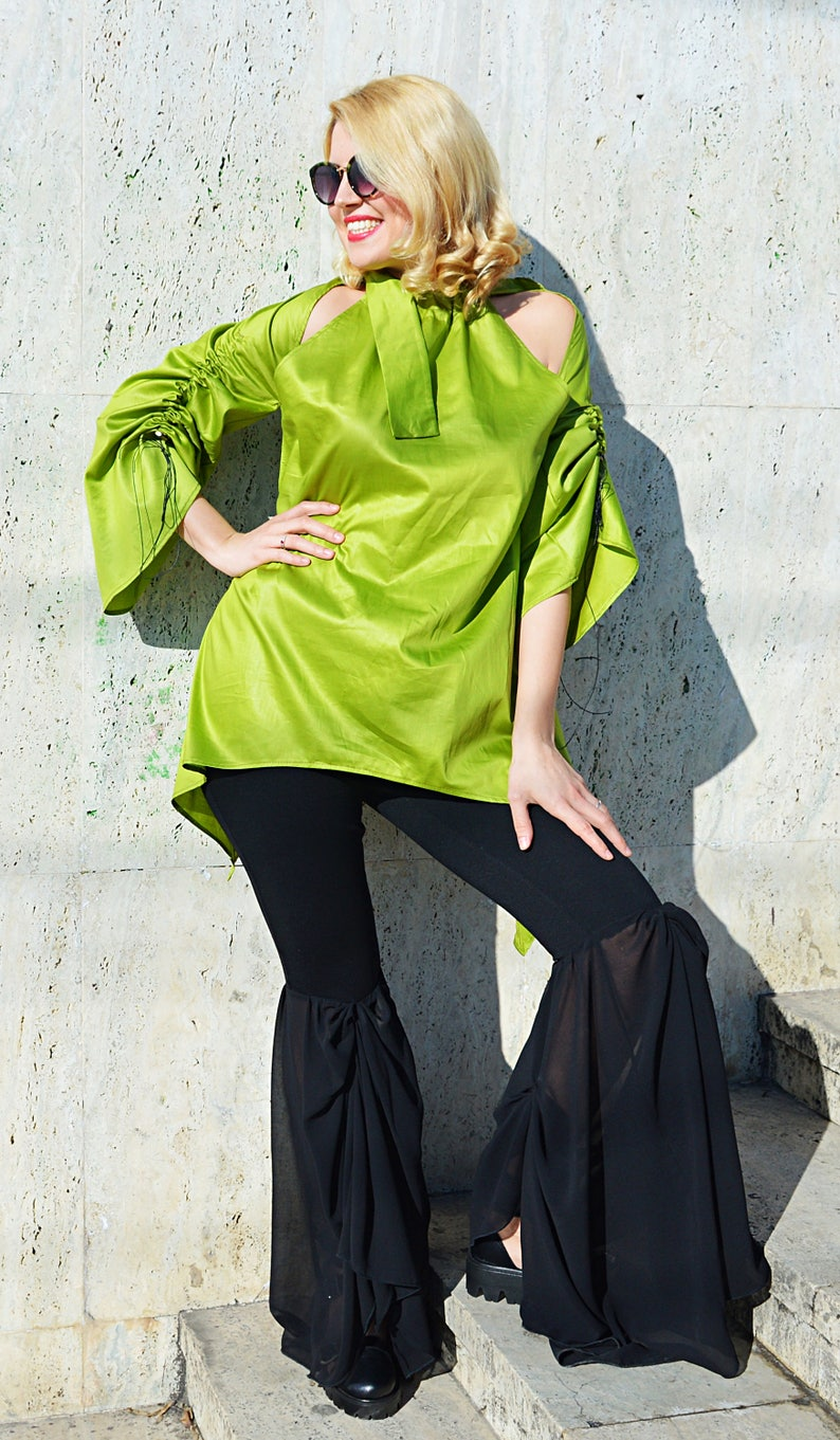 Asymmetrical Top by Teyxo Lime Green Top Lime Green Tunic Top TT133 Off Shoulders Blouse