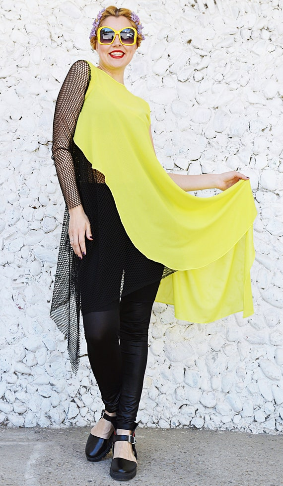 Asymmetrical Top Lime Mesh Teyxo Top Top Chiffon Chiffon Black with Top Chiffon TT138 55wr01n