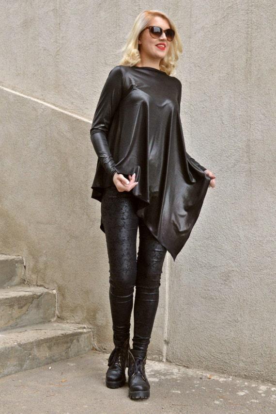 Backless Tunic Black Black Top Black Loose Roma Backless Top Di Ponte Tunic TT70 Asymmetrical WCYxUwCqv