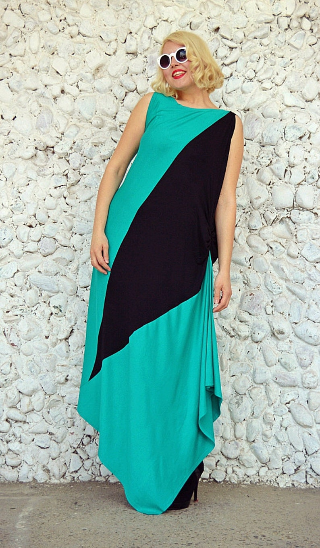 Funky Loose Turquoise Kaftan TDK170 by TEYXO Bicolor Plus Size Dress Asymmetrical Maxi Dress