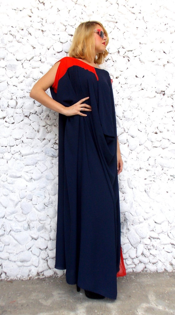 Maxi Navy TDK90 Size Navy Plus Dress Oversize Chiffon Kaftan 1HngqFw