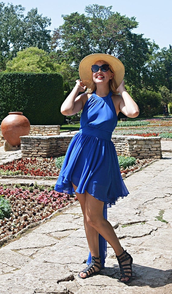 Boho TDK269 Sundress Party Backless Blue Dress with Summer Dress Backless Dress Long Dress Blue Cocktail Wedding Tail Royal qFwAZq
