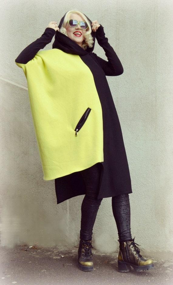 ff48335298f Winter Block Color Dress Black and Yellow Loose Sweatshirt