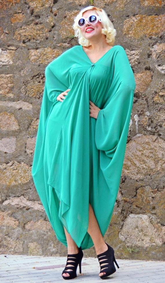 Dress Dress TDK197 Green Light Light Summer Extravagant Asymmetrical Kaftan Green Loose Maxi wrXTqXfax