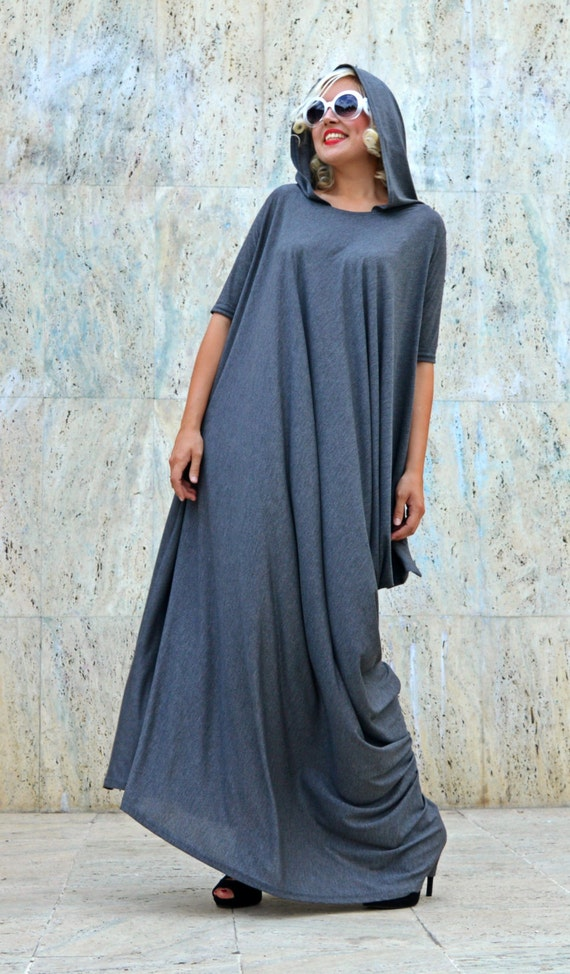 Long TDK200 Grey Hoodie Dress Hooded Dress Loose Hoodie Maxi Grey Extravagant Hooded Extravagant Z6qaYa
