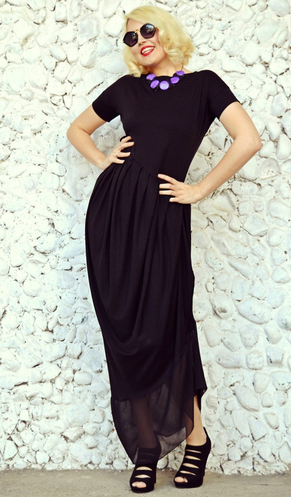 Dress Black Asymmetric Extravagant TDK32 Size Dress Dress Black Maxi Plus Maxi EqwExHWrR