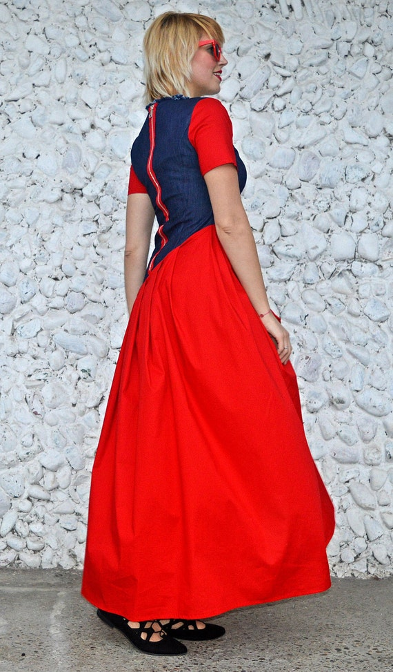 Maxi Denim Dress Dress Red Daring Red Long Dress Extravagant Dress TDK230 Denim MUSE Dress URBAN Cotton Red Denim qYOwd6xE6
