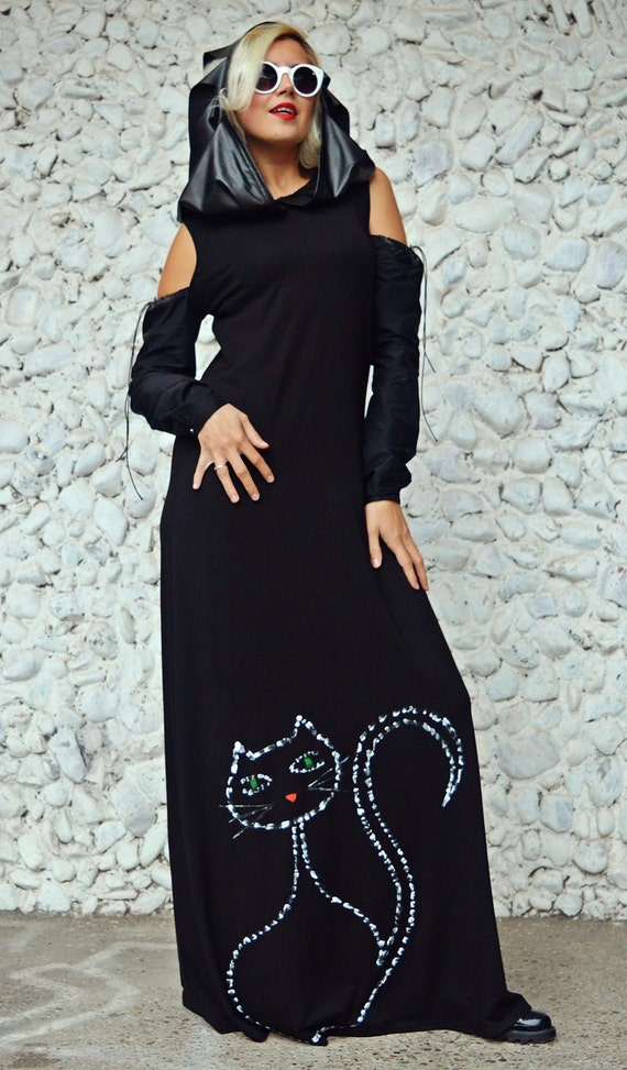 Fringe Cat with Loose TDK216 Cat with Dress Maxi Maxi Black Handmade Painted Dress Dress Dress Hood Painted Black Drawing Dress 1wAvUz