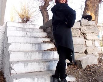 Asymmetric Black Coat / Extravagant Coat / Asymmetric Extravagant Coat TC10
