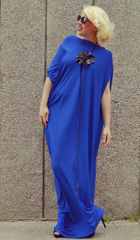 Royal Blue Maxi Dress / Plus Size Blue Kaftan / Extravagant Long Summer  Dress / Blue Fabulous Long Dress TDK175