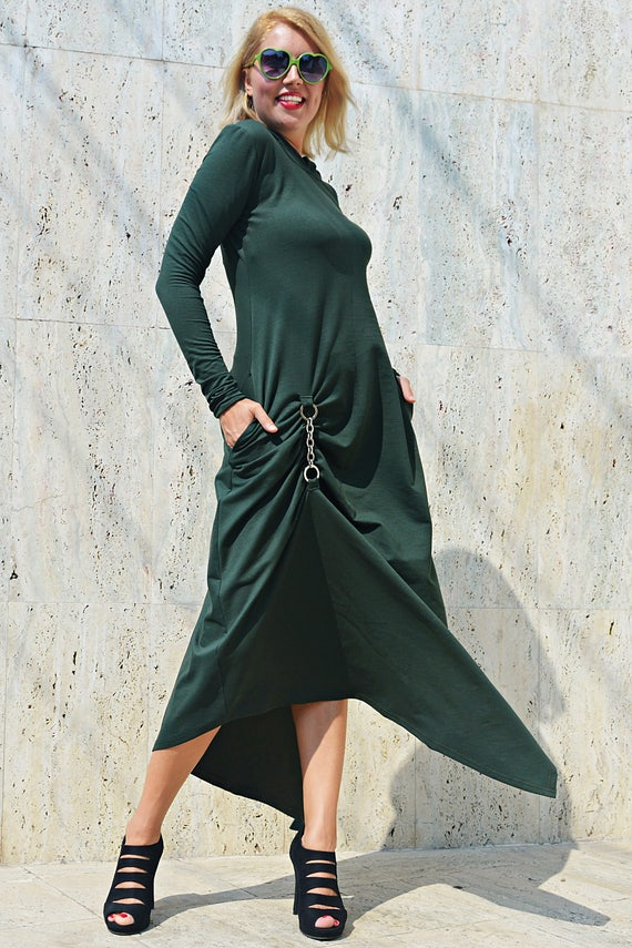 Maxi Green Asymmetrical Maxi TEYXO Army by Hoodie TDK271 Forest Dress Dress Hooded Hooded Green Dress 0UW4gxZ