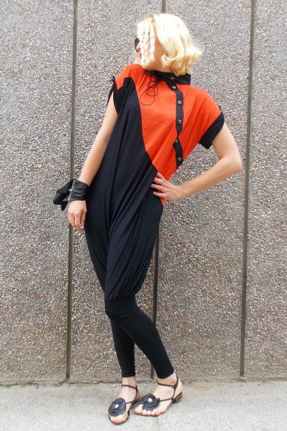 Overall Loose XXL Asymmetric Jumpsuit and Size Black TJ11 Jumpsuit Plus Orange Jumpsuit Drop Extravagant Crotch qZwvp