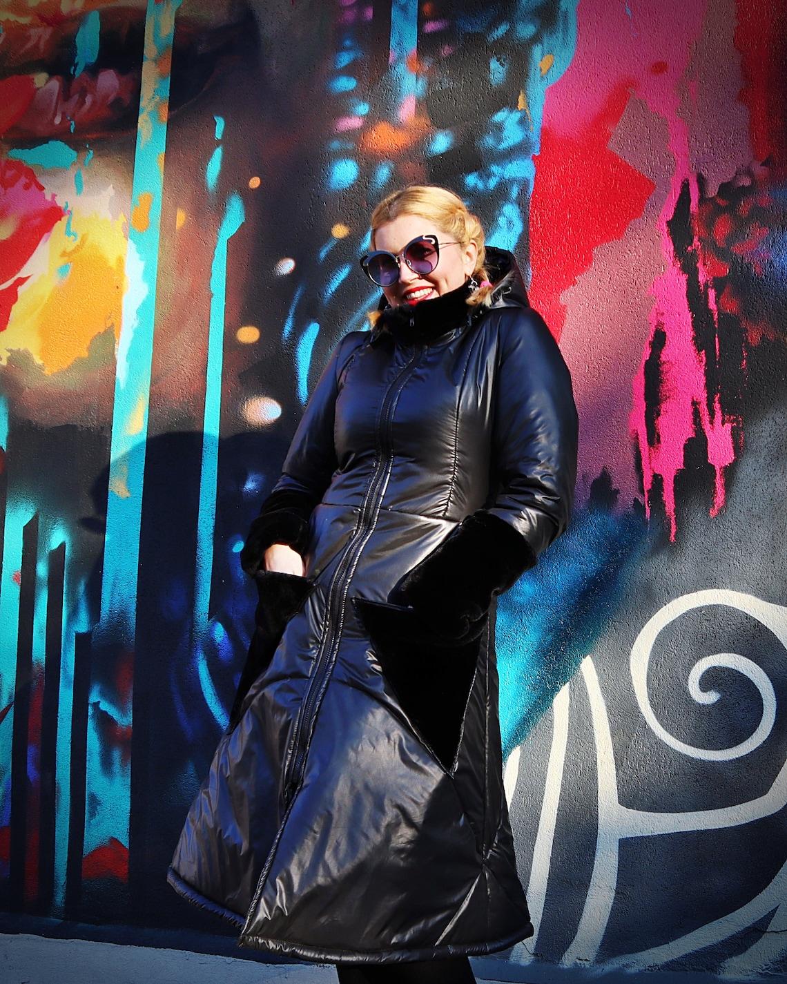 Winter Midi Puffer Jacket Black Faux Fur Coat A-line Padded Windbreaker Warm Waterproof Quilted Long Tc155