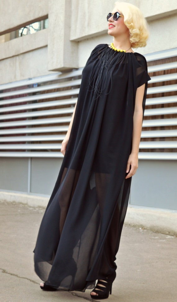 62579aa60e6 Extravagant Black Jumpsuit Loose Jumpsuit with Underneath