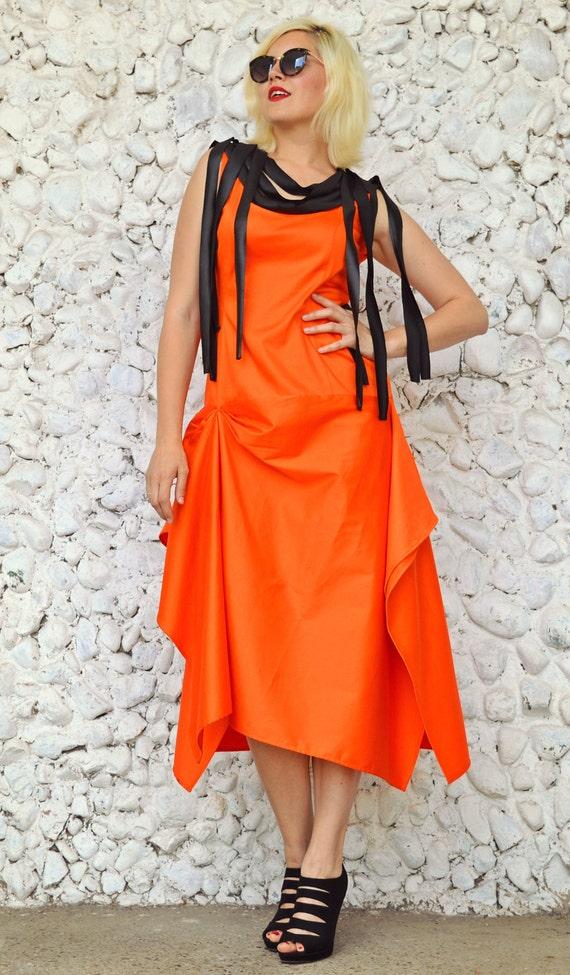 Funky Orange Dress Orange Dress Cotton Dress Fringes Dress Asymmetrical Metallic with TDK189 Extravagant Summer Dress Neoprene dAv0wA