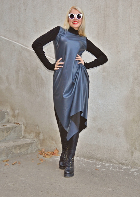 Dress For Women Stretched Leather Dress With Knitted Sleeves Etsy