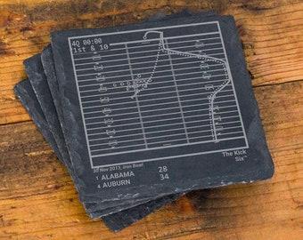 Greatest Auburn Football Plays: Slate Coasters (Set of 4)