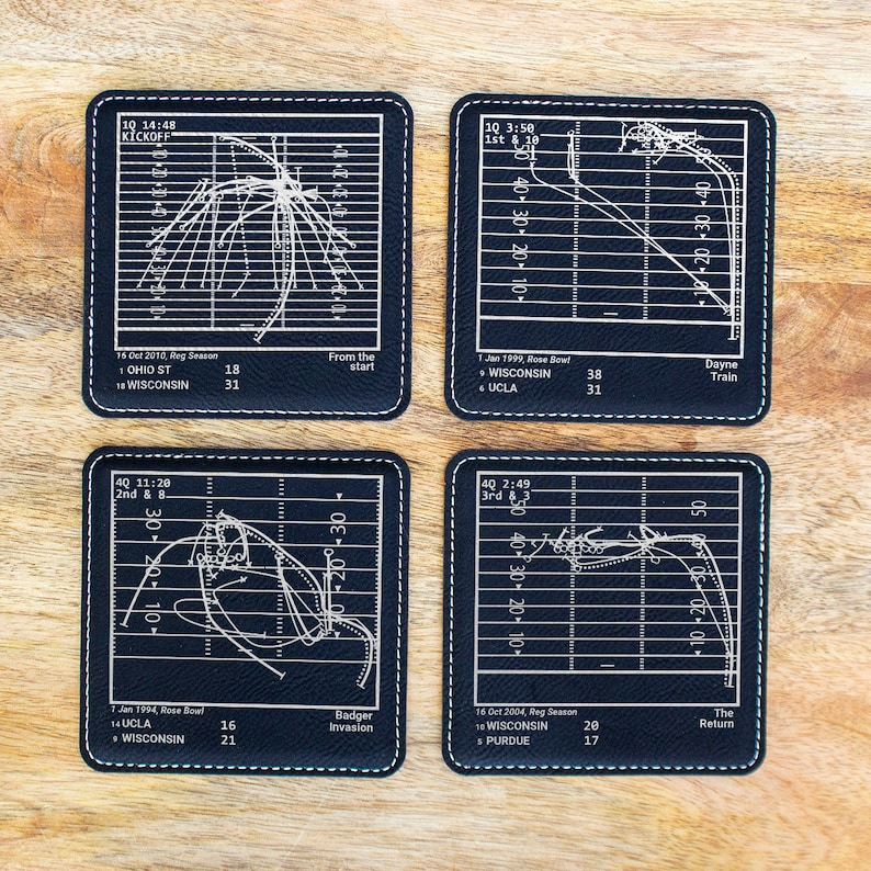 Set of 4 Leatherette Coasters Greatest Wisconsin Football Plays