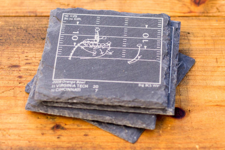 Greatest Virginia Tech Plays Slate Coasters Set of 4