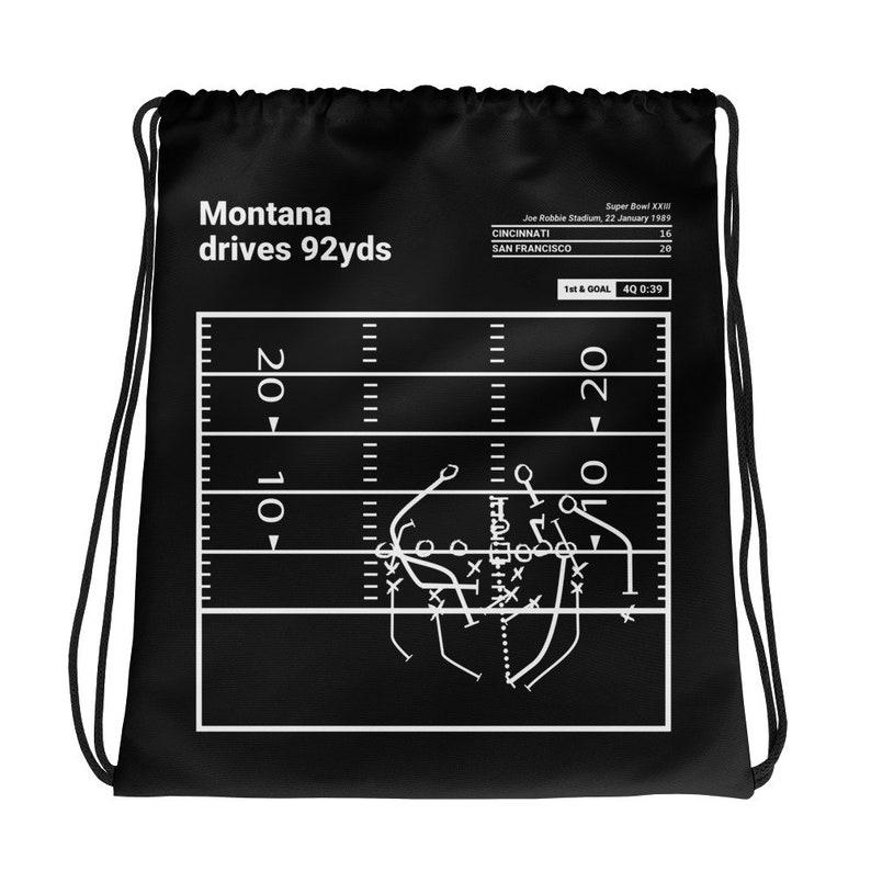 1989 Montana drives 92yds Greatest 49ers Plays Drawstring Bag