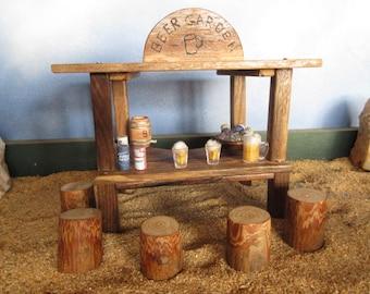 Fairy Garden Miniature Beer Garden Shack And Stools St. Patrick Fairy House  Decor Accessories