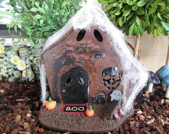 Fairy Garden Halloween Haunted House OOAK witch goblin cottage door