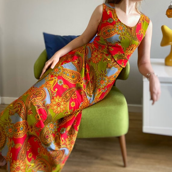 Vintage 60s 70s psychedelic paisley maxi dress. Ca
