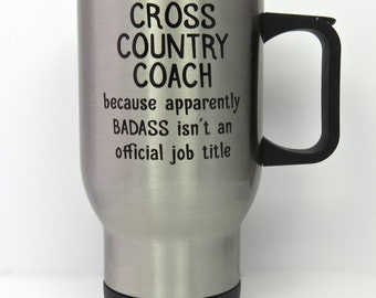cross country coach travel mug, stainless steel travel mug for running coach, high school cross country, running coach gift, reusable mug